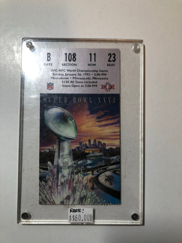 Super Bowl XXV1 original football game ticket 1992