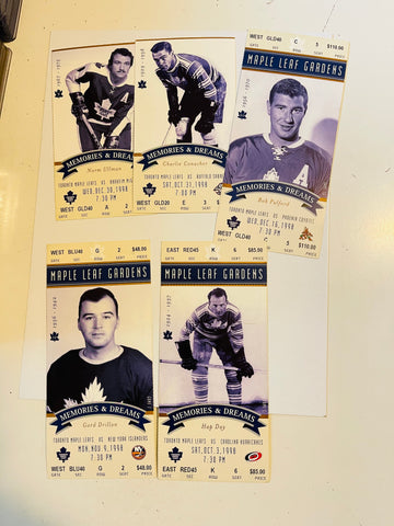 1998 Toronto Maple Leafs hockey 5 game used tickets