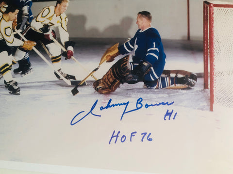 Johnny Bower Toronto Maple Leafs hockey Legend signed playoff photo with COA