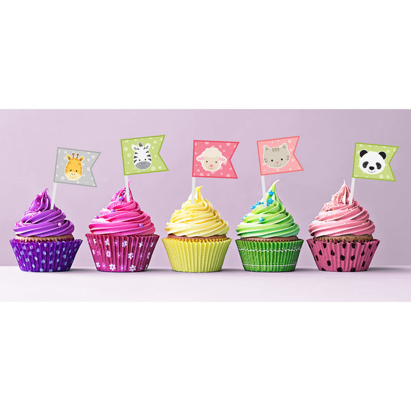 Girl Animal Cupcake Toppers - DIY  Printables