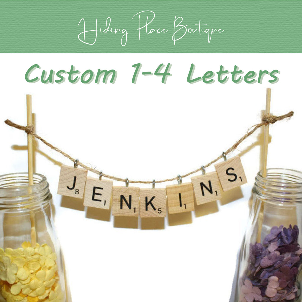 Custom Hanging 1 - 4 Letters Wedding Cake Topper