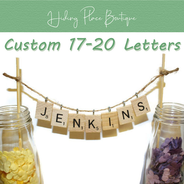 Custom Hanging 17 - 20 Letters Wedding Cake Topper