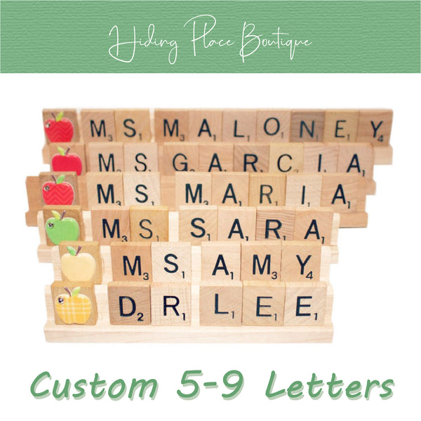 Custom Teacher Name 5 - 9 Letter Name Plate