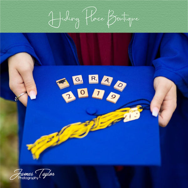 Grad & Year Scrabble Letters - Graduation Pictures Prop