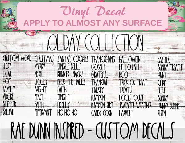 Custom Name - Rae Dunn Holiday Collection Vinyl Decal