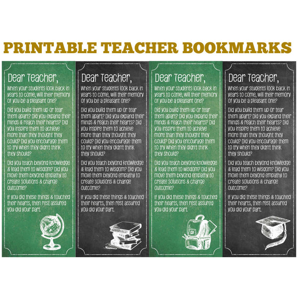 Printable Teacher Bookmarks - DIY Printables