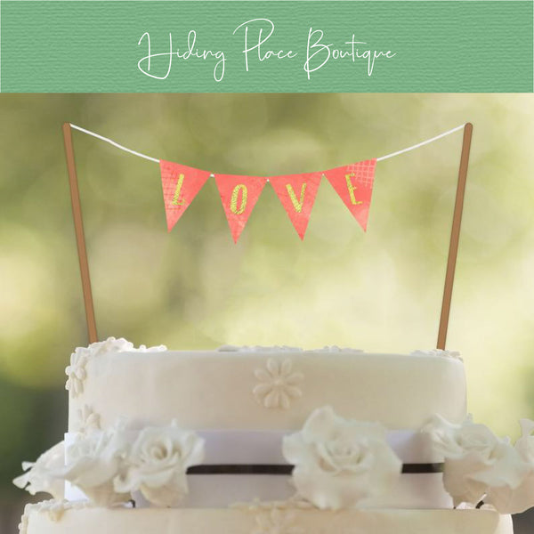 Coral & Gold Cake Banner (Customizable) - DIY A-Z Printables