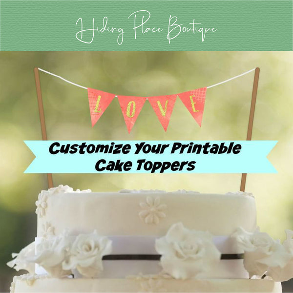 Coral Wedding Cake Banner - PRINTABLE