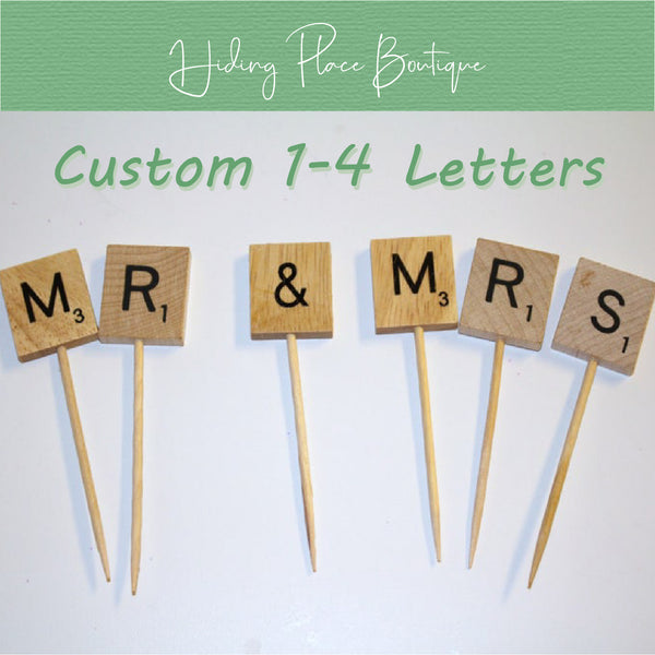 Custom 1 - 4 Letter Toothpick Name - Wedding Cake Topper