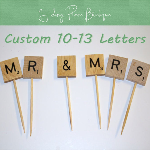 Custom 10 - 13 Letter Toothpick Name - Wedding Cake Topper