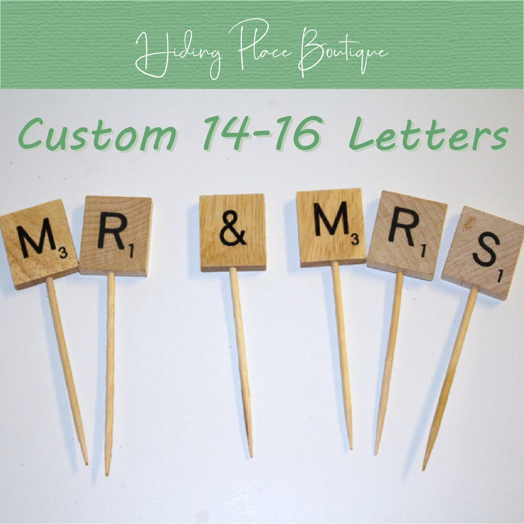 Custom 14 - 16 Letter Toothpick Name - Wedding Cake Topper