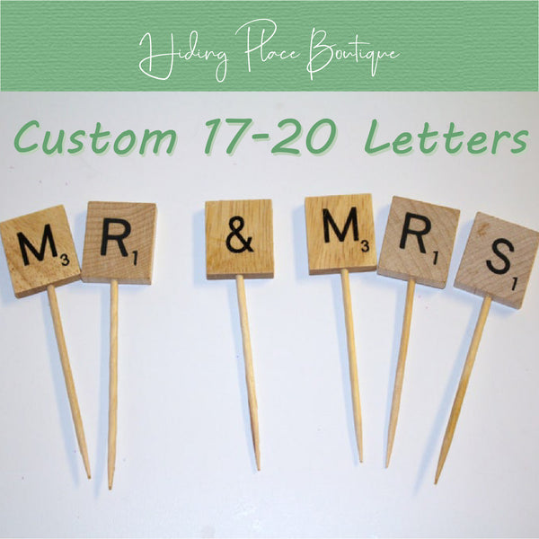 Custom 17 - 20 Letter Toothpick Name - Wedding Cake Topper