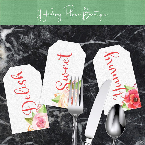 Dinner Party Cutlery Tags (White) - DIY Printables