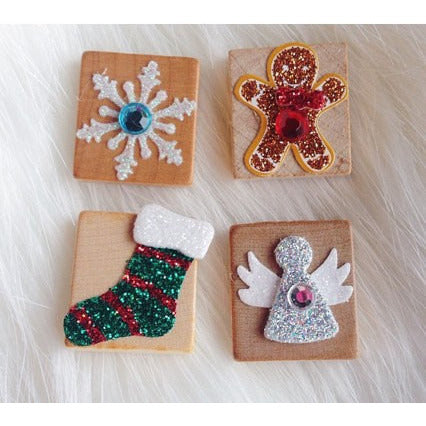 Christmas Scrabble Tile Angel Gingerbread Man, Stocking, Snowflake Magnet OR Push Pins/Thumbtacks