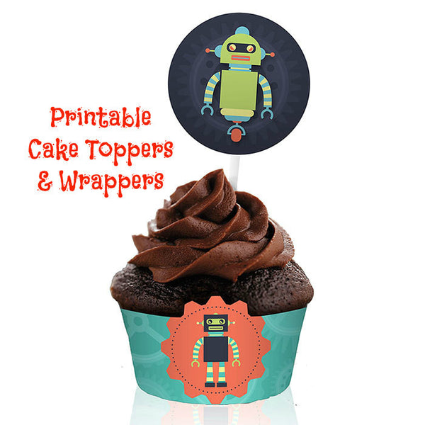 Robot Party Cake Wrappers