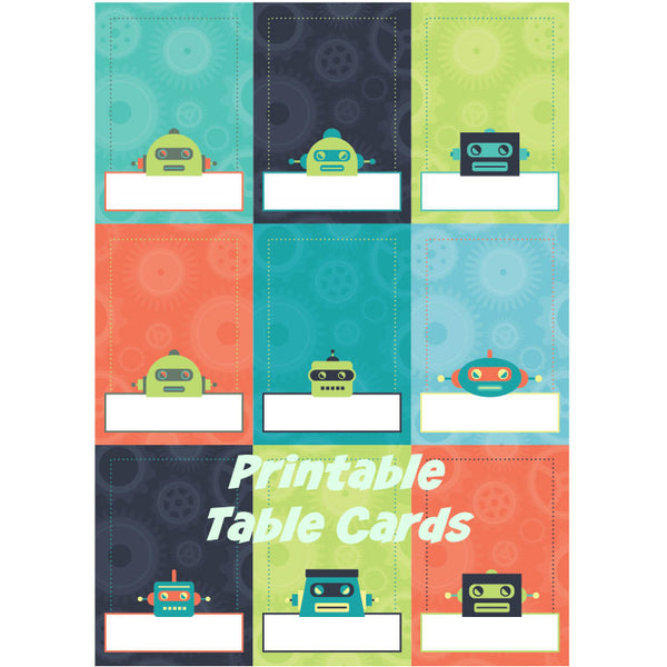 Printable Robot Party Food Labels