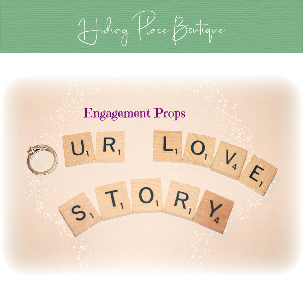 Our Love Story Scrabble Letters - Engagement Picture Prop