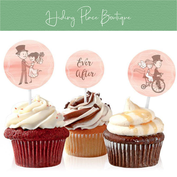 Printable Pink Bike Wedding Cupcake Toppers