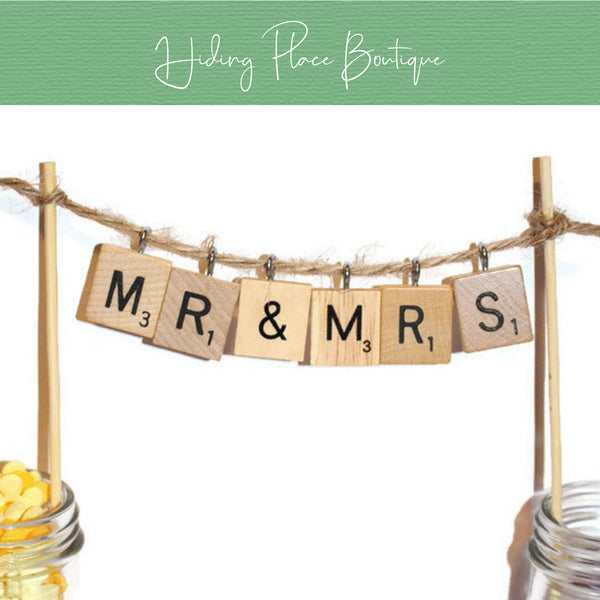 Hanging Letters - Wedding Cake Topper
