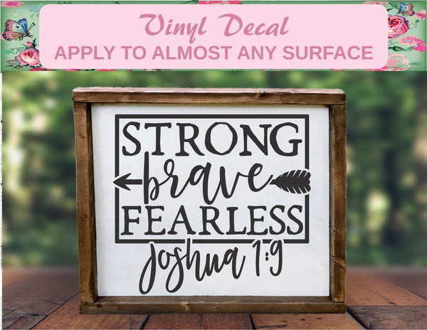 Strong Brave And Fearless - Christian Inspiration Vinyl Decal