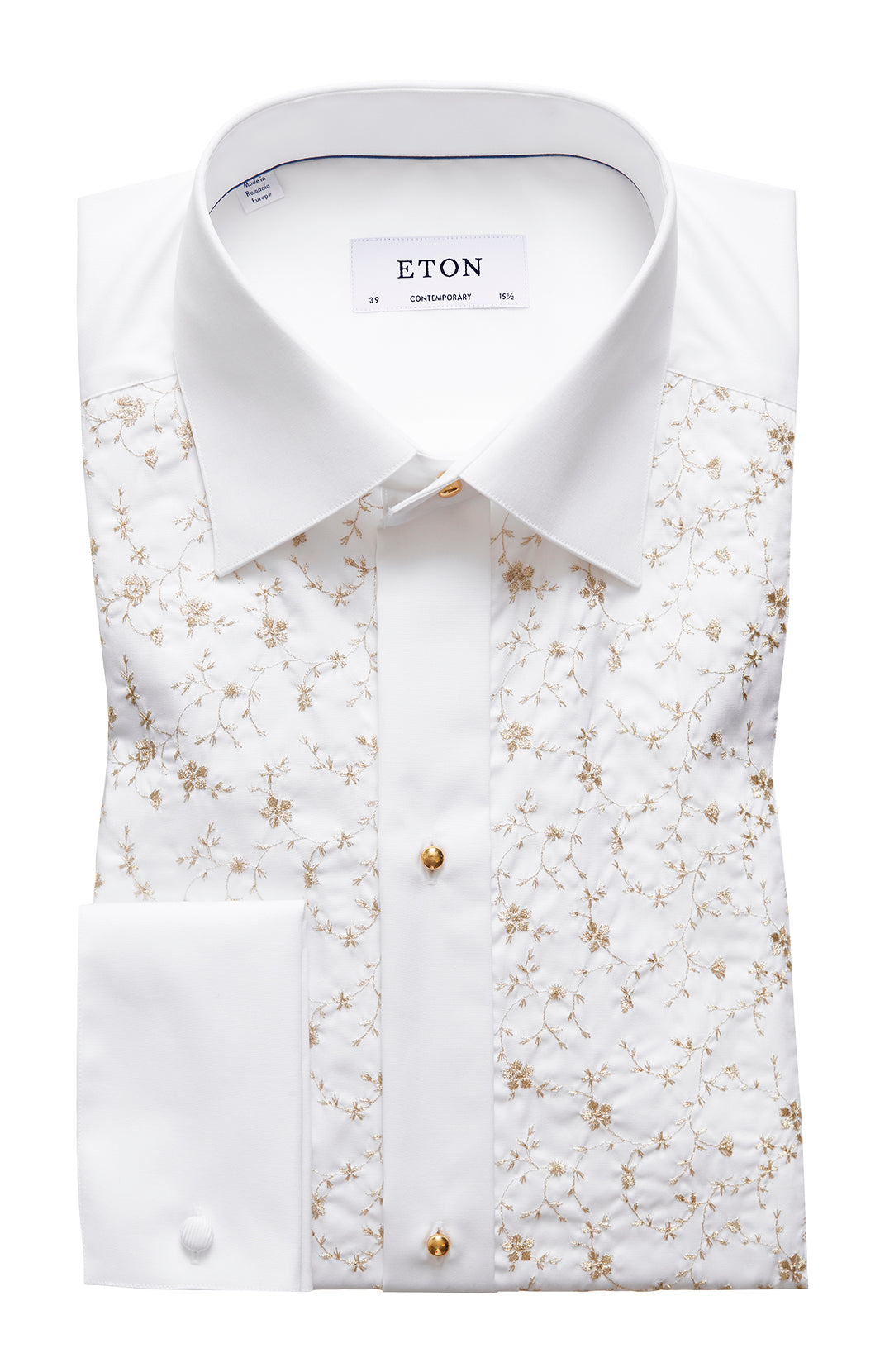 GOLDEN FLOWERS EMBROIDERED WHITE SHIRT