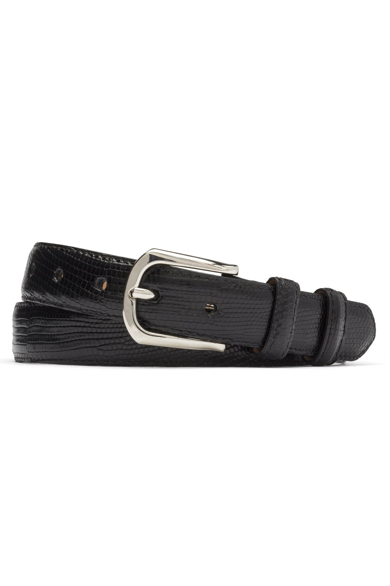 lizard skin mens w.kleinberg belt, mens black belt, lizard skin, genuine lizard, w.kleinberg belts