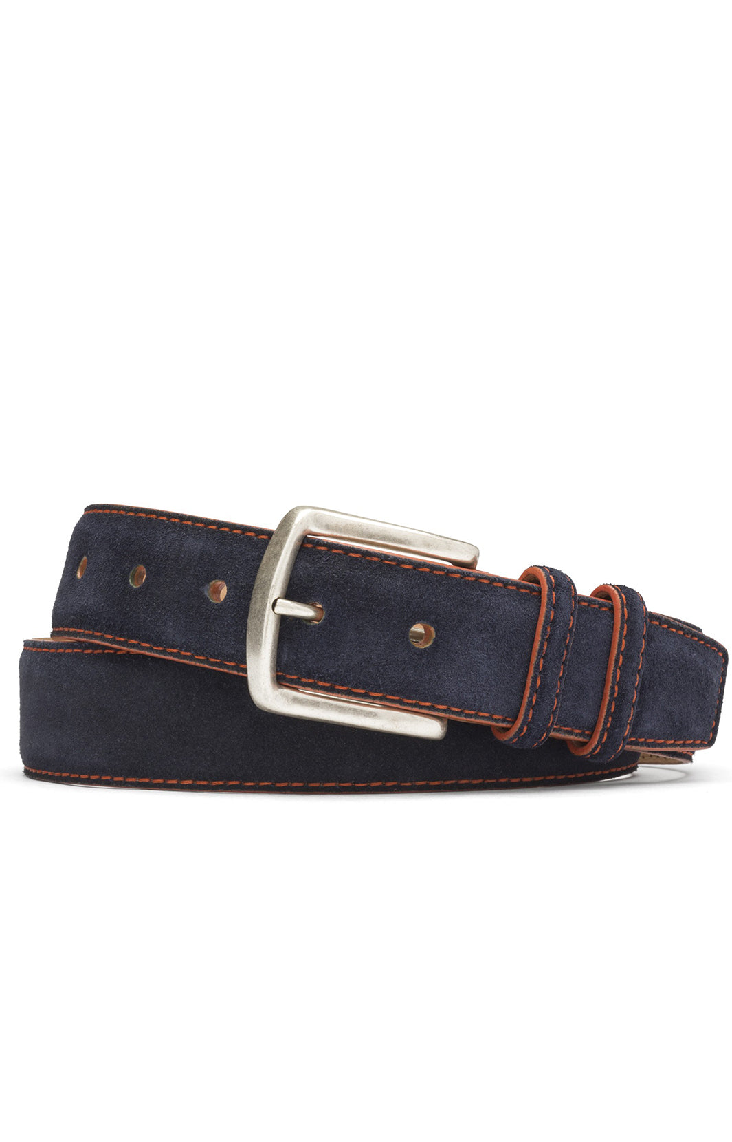 "1 3/8"" SUEDE CALF BELT - BLACK WITH RED STITCHING"
