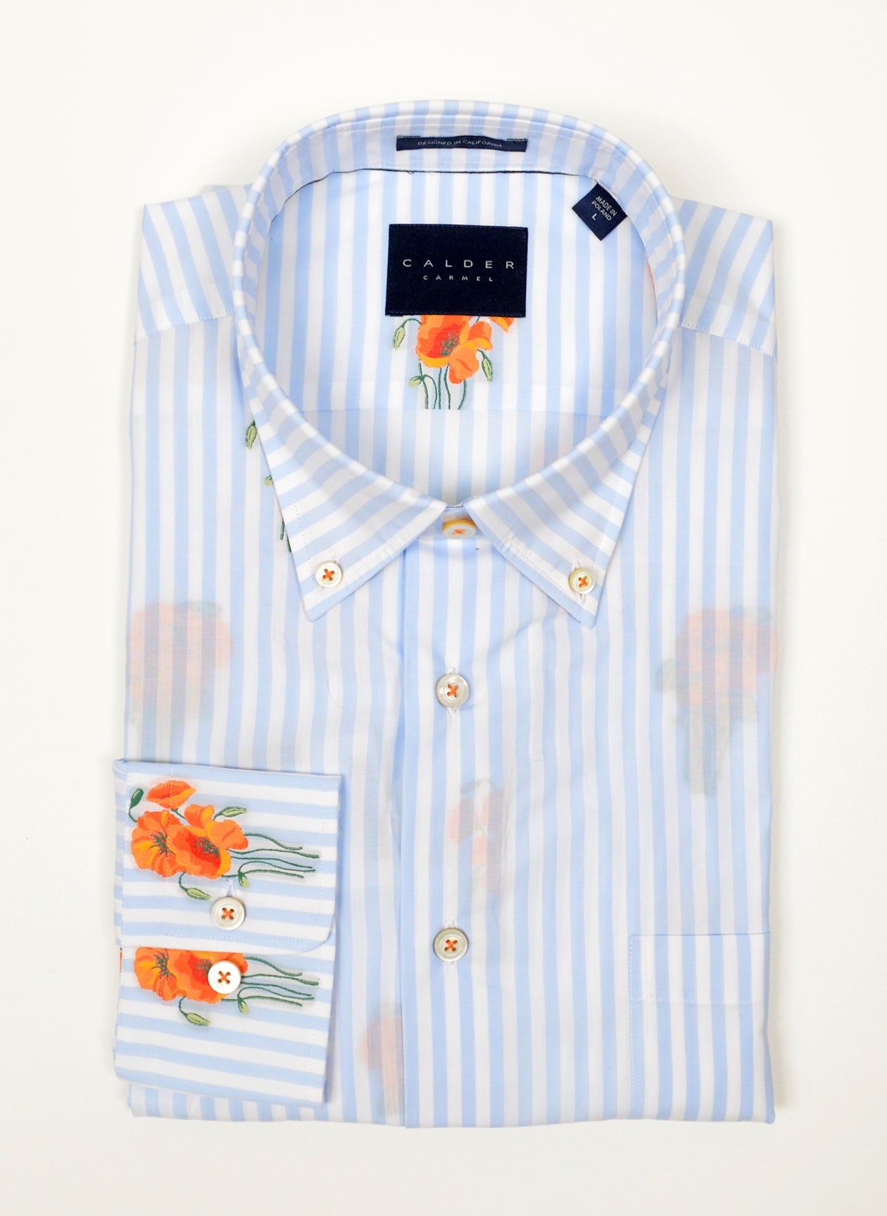 SKY TAPE STRIPE WITH CALIFORNIA POPPY COUPE SHIRT - POPPY