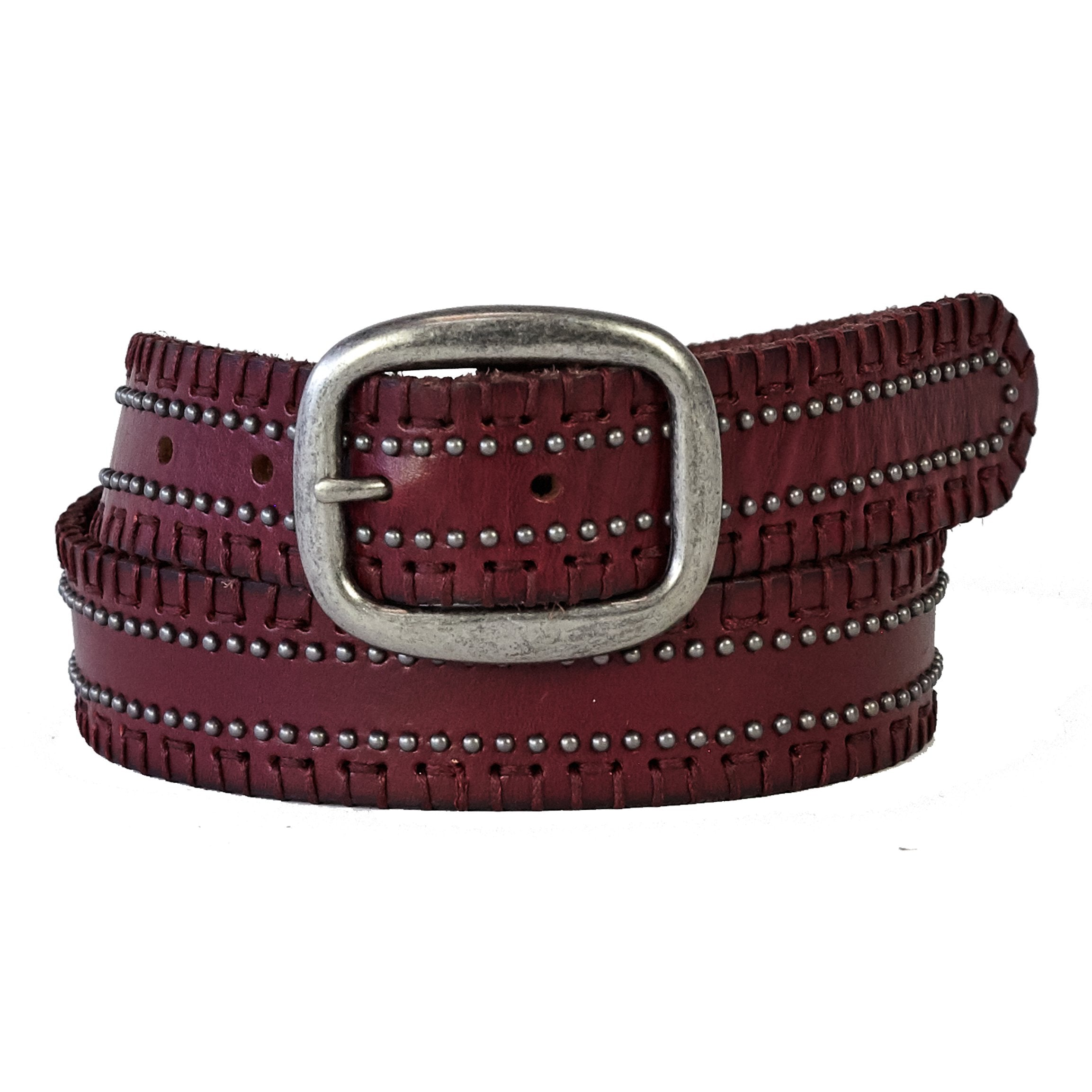 MALON LACE EDGE STUDDED BELT - WINE