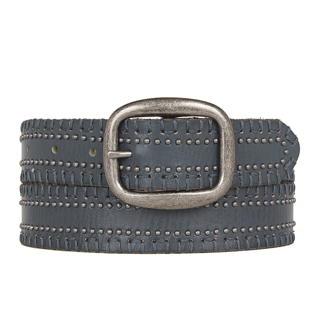 MALON LACE EDGE STUDDED BELT - PETROL