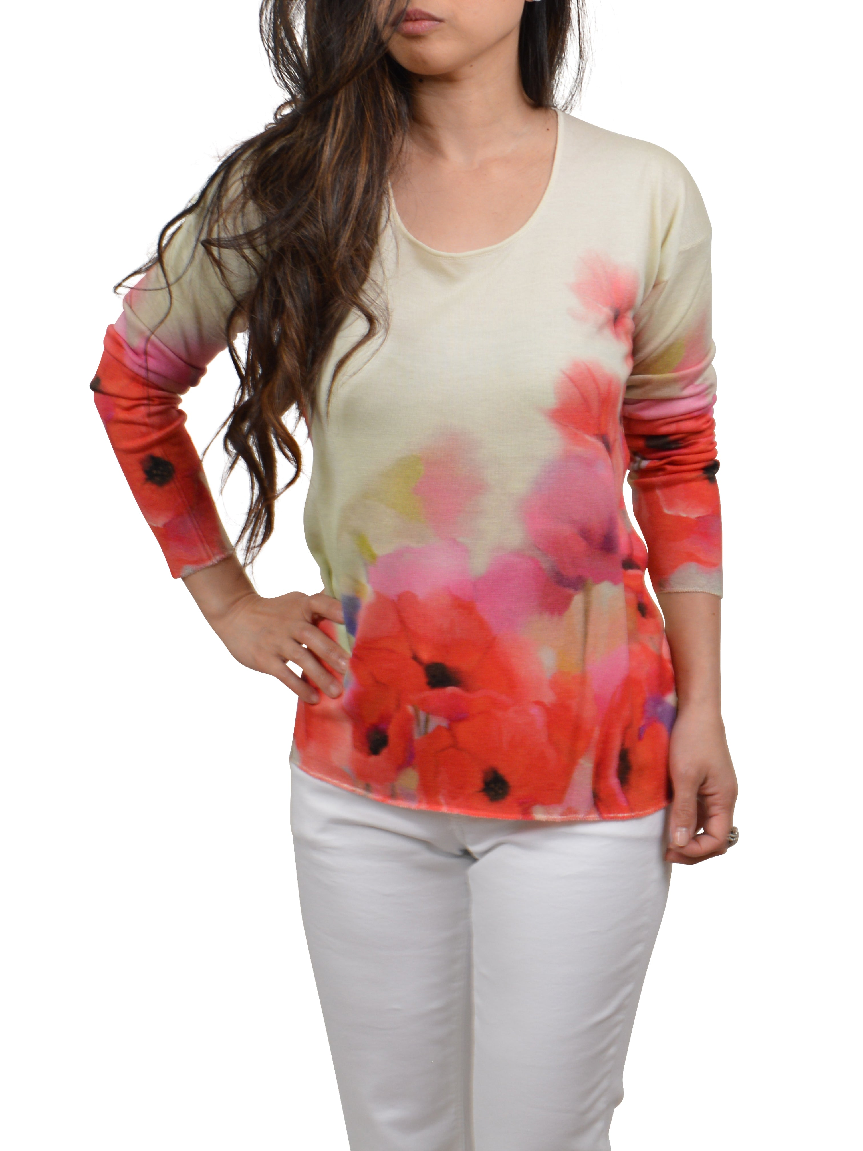 POPPIES PRINT CASHMERE SILK SWEATER