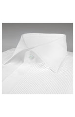 SOLID PLEATED DRESS SHIRT - WHITE