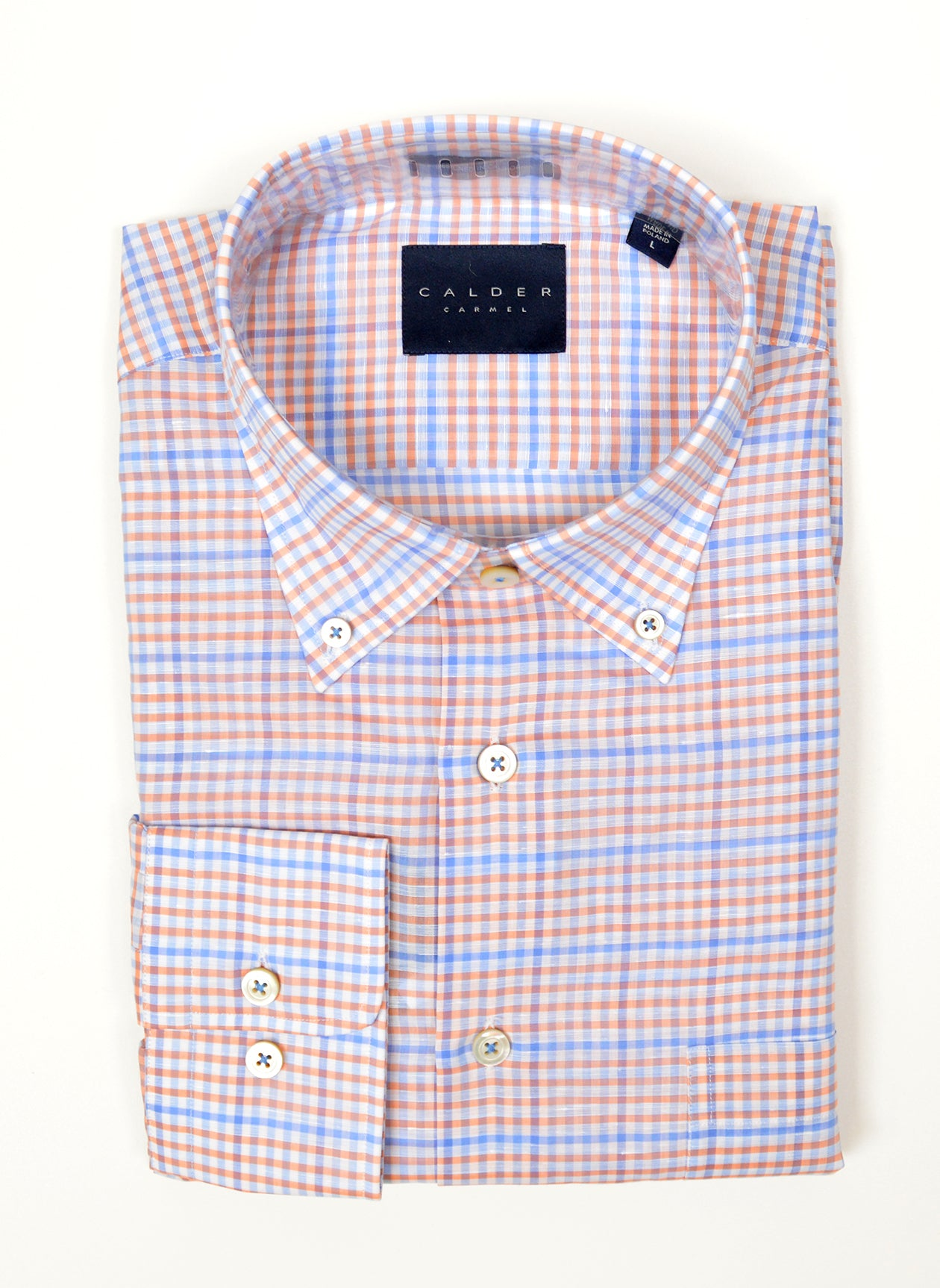 COTTON LINEN POPLIN PLAID SHIRT - CORAL