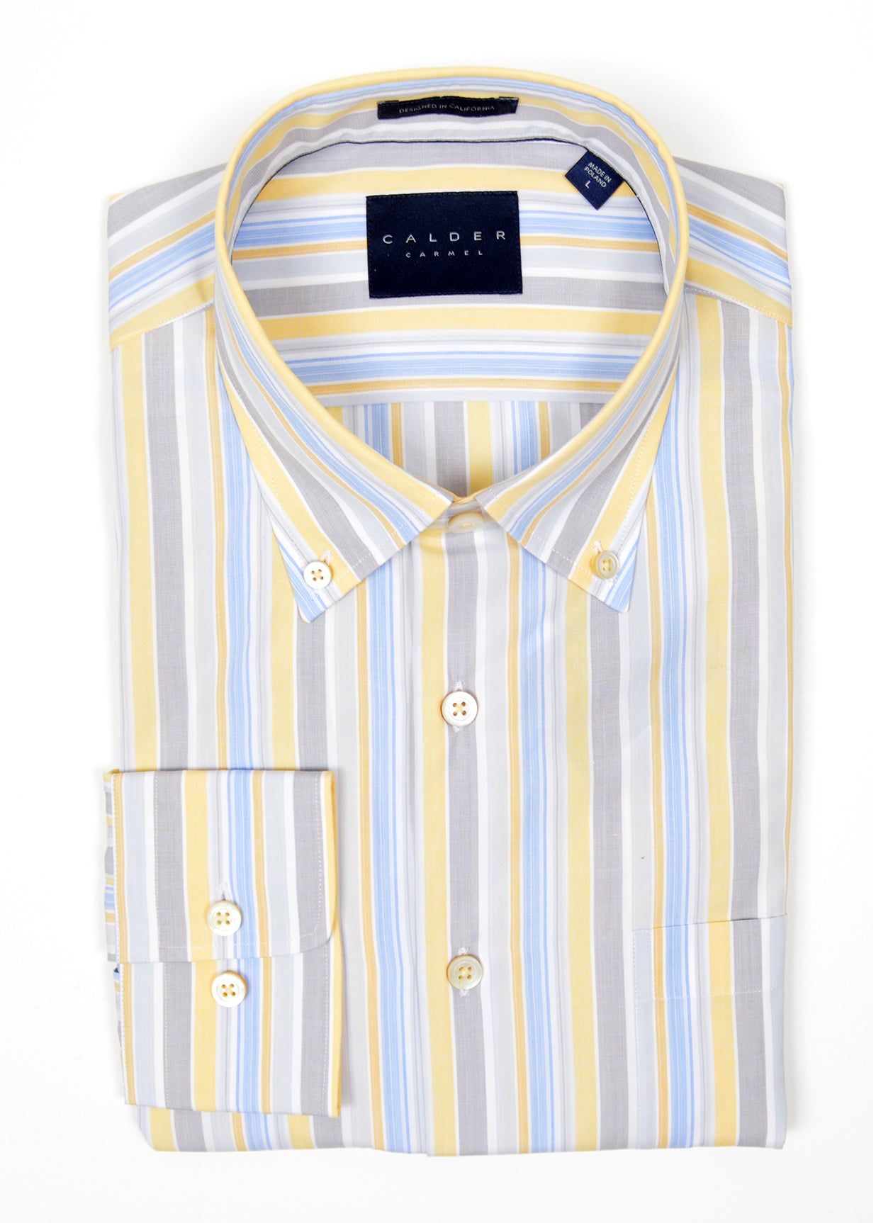 LUXURY END ON END STRIPE SHIRT - BUTTER