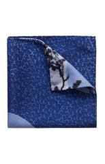 BLUE KYOTO MOTIF WOOL POCKET SQUARE