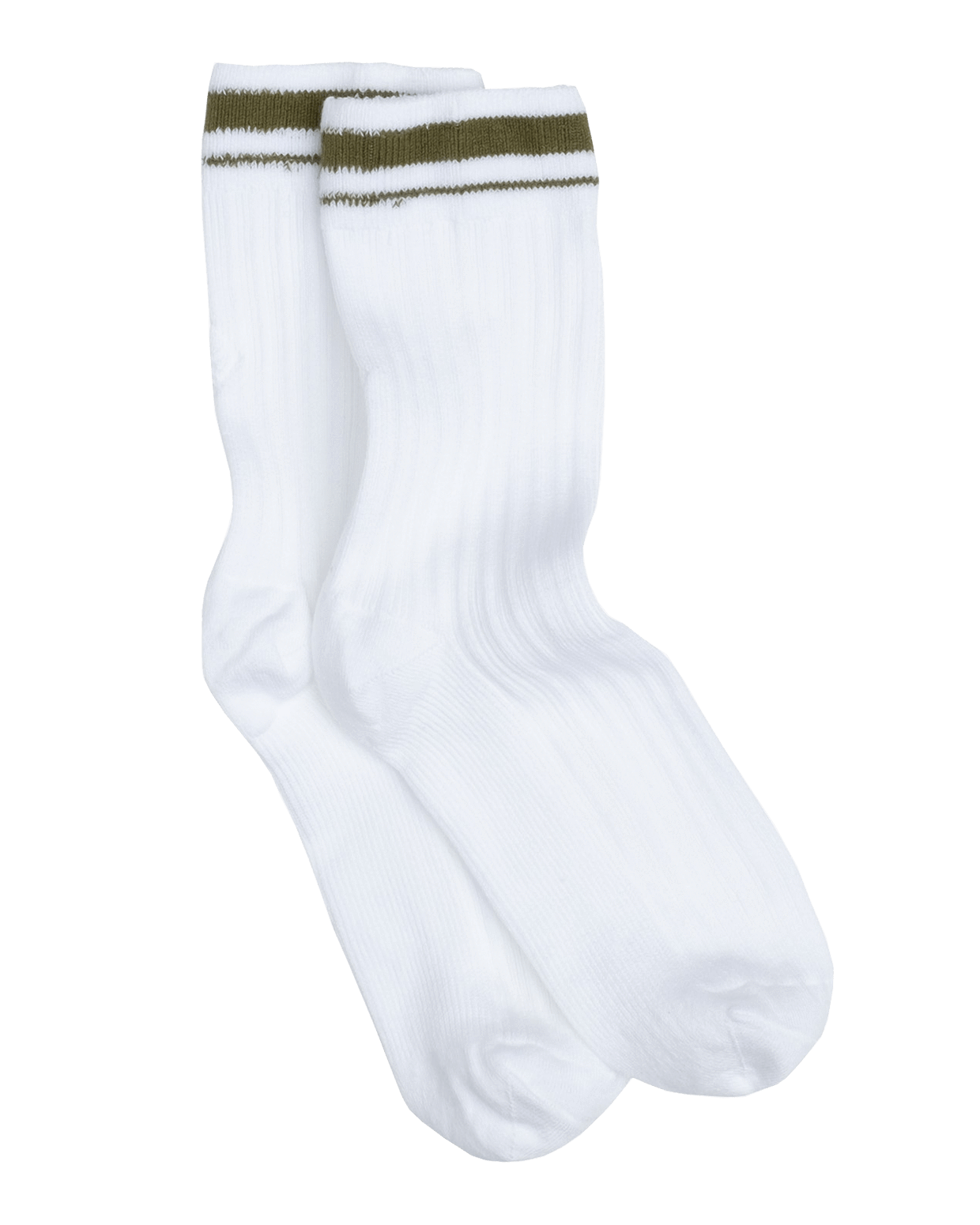 CORE SPORT SUPIMA COTTON WHITE SOCKS - OLIVE STRIPE