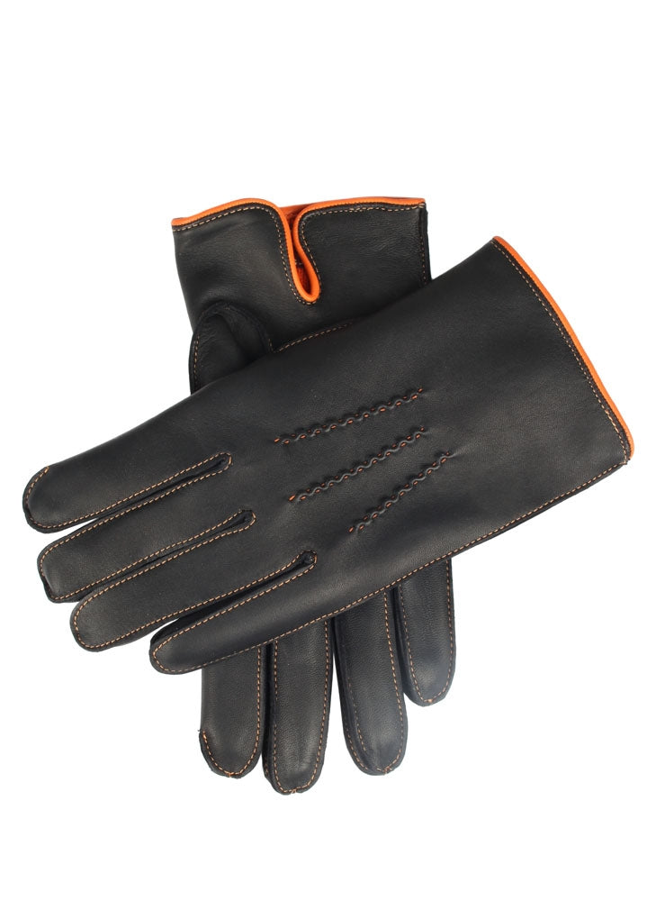 ALNWICK CASHMERE LINED LEATHER GLOVES - TANGERINE