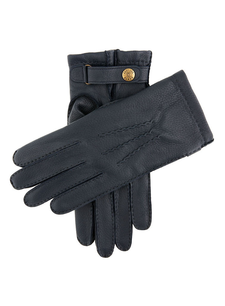 BADMINTON CASHMERE LINED DEERSKIN LEATHER GLOVES - NAVY