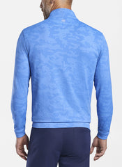 PERTH CAMOUFLAGE PERFORMANCE JACQUARD 1/4 ZIP - BLUE SEA
