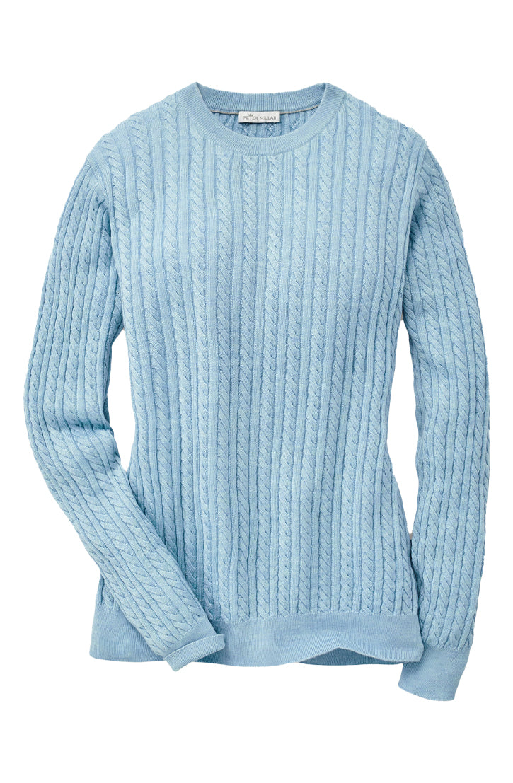 CROWN SOFT BABY CABLE CREW NECK SWEATER - SKYLIGHT