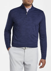 PERTH CAMOUFLAGE PERFORMANCE JACQUARD 1/4 ZIP - NAVY