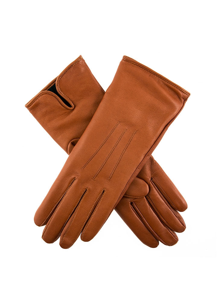 CHARLECOTE CASHMERE LINED HAIRSHEEP LEATHER GLOVES - COGNAC