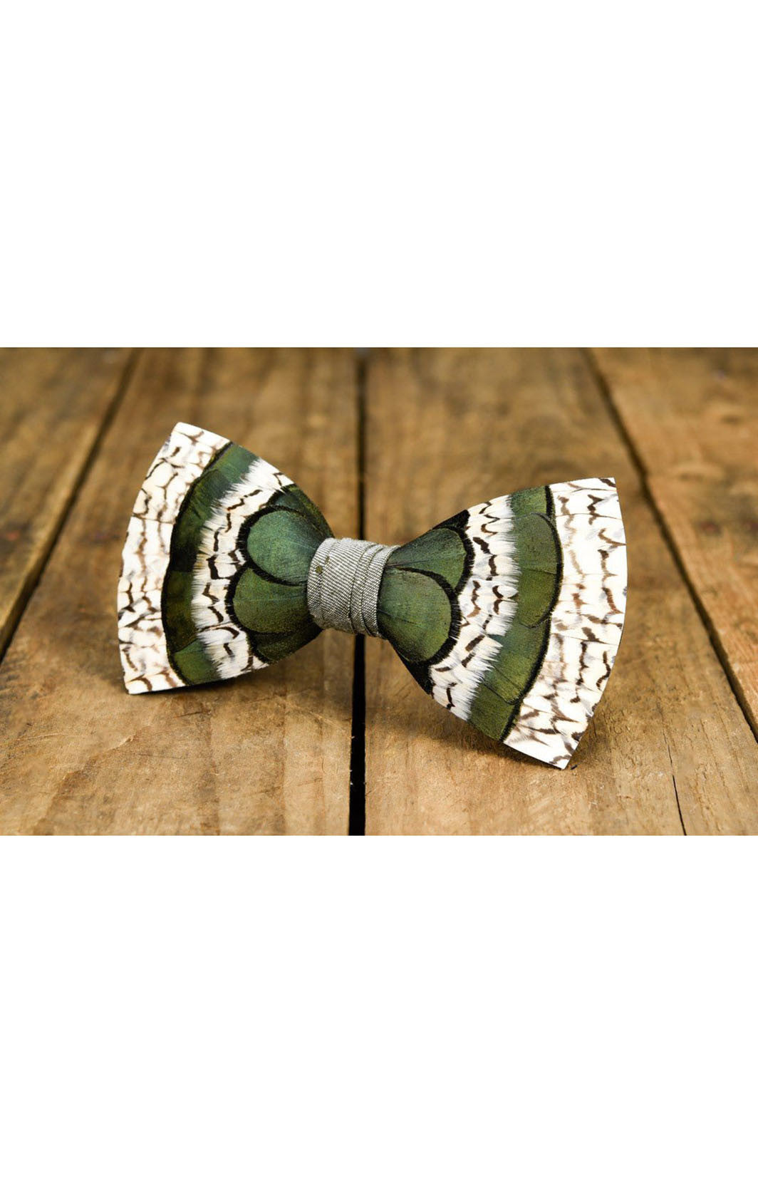 bobwhite and pheasent feathers, feather bow tie, green and white bow tie, unique bow tie, brackish bow ties