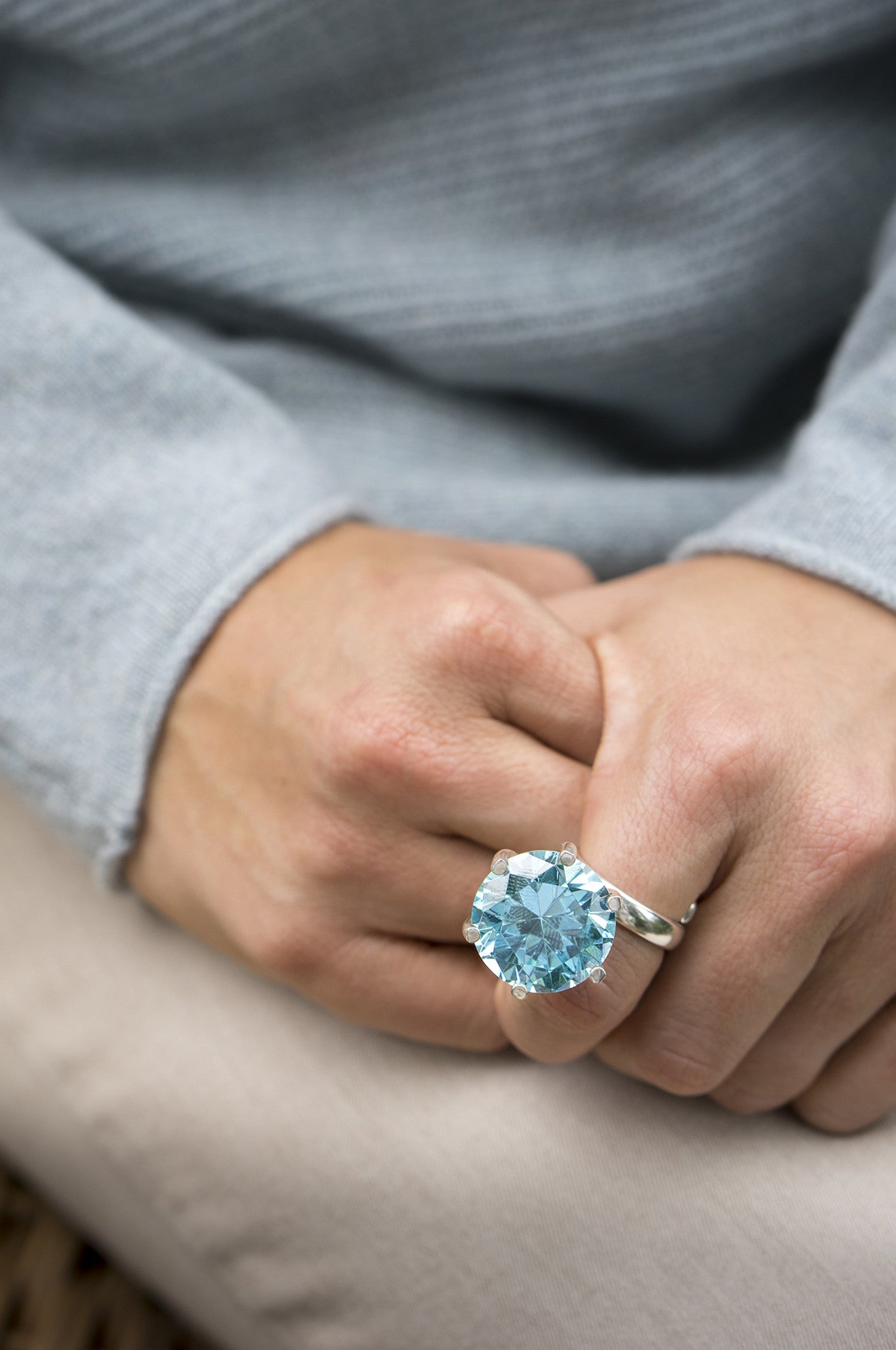 LARGE BLUE TOPAZ RING