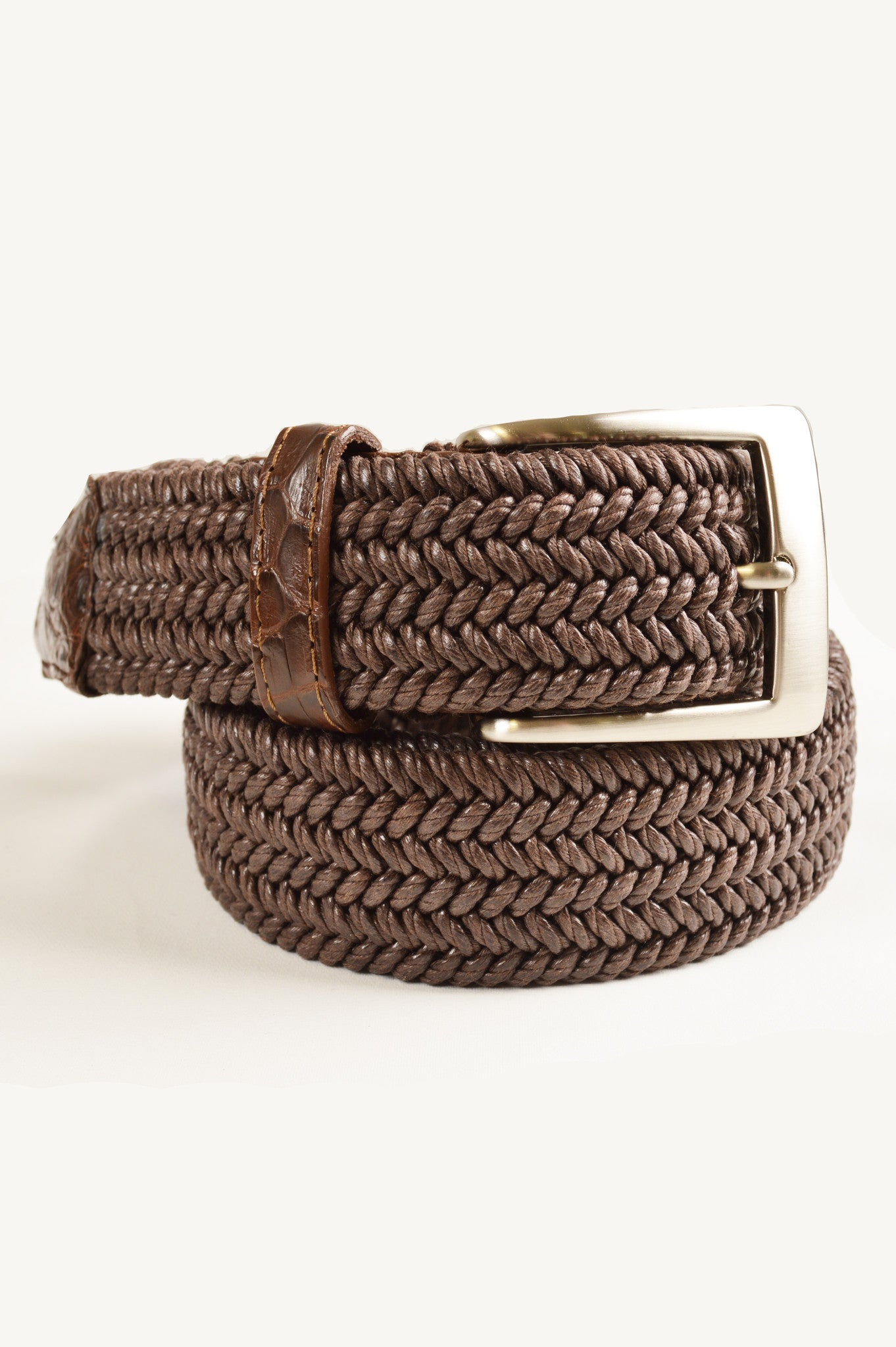 stretch weave mens belt with crocodile detail
