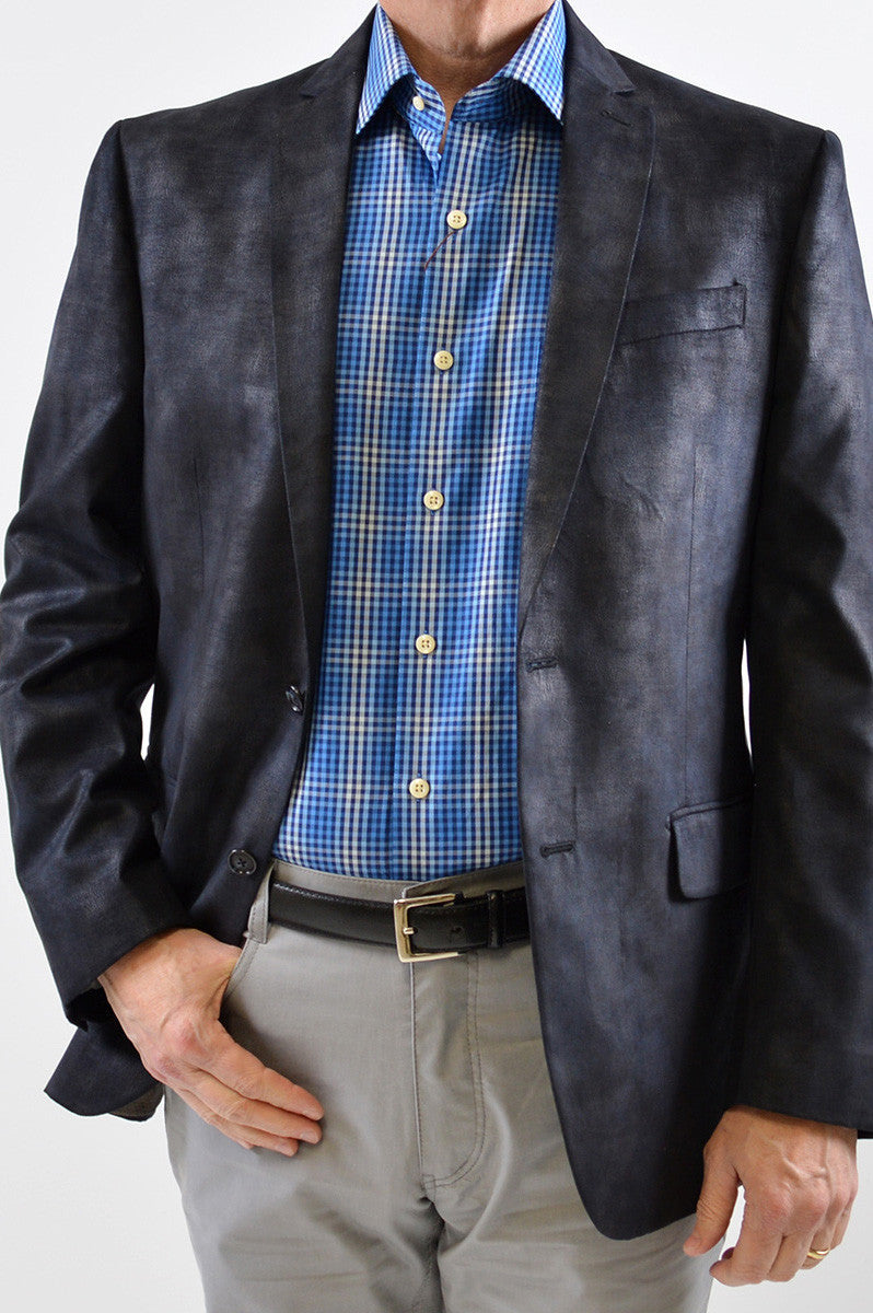 NAVY FAUX SUEDE MENS SPORT COAT