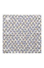 BLUE AND YELLOW FLORAL OFF-WHITE SILK POCKET SQUARE