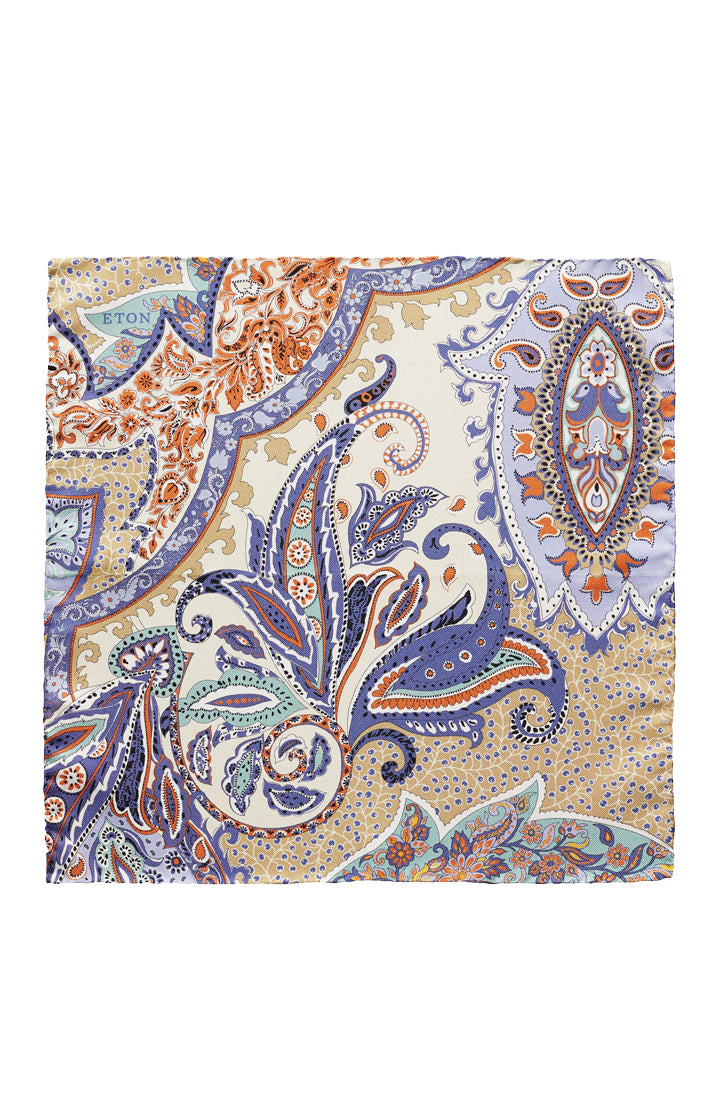 PURPLE ORANGE AND TAN FLORAL PAISLEY PRINT SILK POCKET SQUARE