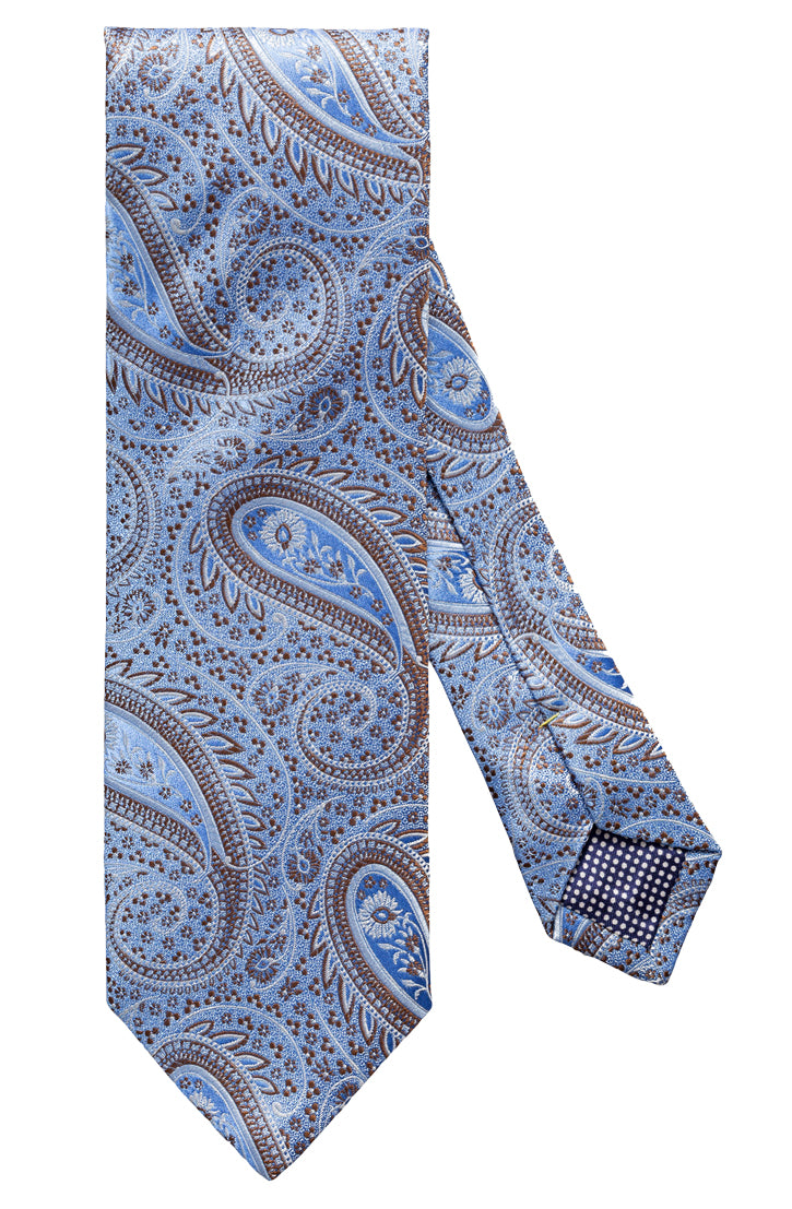LIGHT BLUE AND BRONZE PAISLEY SILK TIE