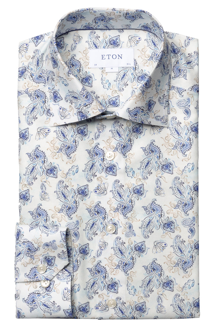 BLUE AND TAN PAISLEY PRINT WHITE SHIRT